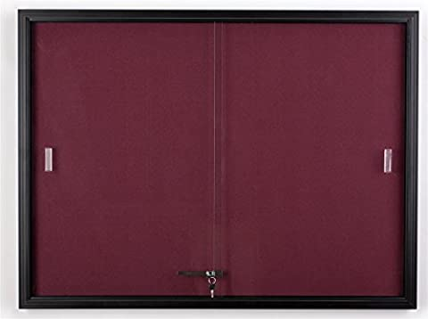 Displays2go 48 x 36 Inches Fabric Tack Board with Locking Sliding Glass Door, 4 x 3 Feet Wall-Mounted Enclosed Bulletin Board - Black Aluminum Frame with Maroon Fabric - Enclosed Cork Board