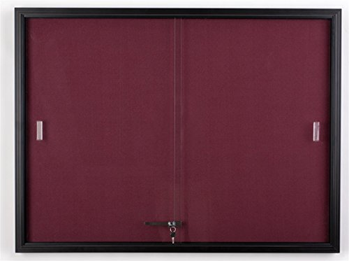 Displays2go 48 x 36 Inches Fabric Tack Board with Locking Sliding Glass Door, 4 x 3 Feet Wall-Mounted Enclosed Bulletin Board - Black Aluminum Frame with Maroon Fabric (Sliding Door Cork Board)