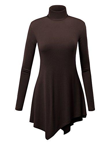 WT993 Womens Turtle Neck Long Sleeve Top With Handkerchief Hem XL Brown