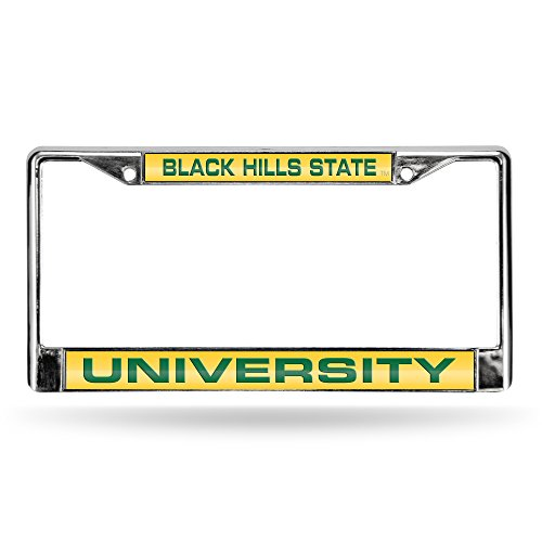 (Rico Industries NCAA Black Hills State Yellow Jackets Laser Cut Inlaid Standard Chrome License Plate Frame)