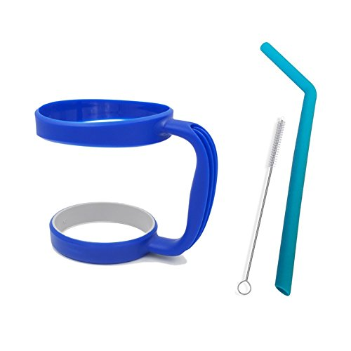 NEW DESIGN Anti-slip Handle for 30 Oz YETI Rambler - Fits RTIC Tumbler SIC Cup Thermik and other 30 ounces Tumblers- with Free Silicone Drinking Straw + Cleaning Brush,Deep Blue (Tumbler not included)
