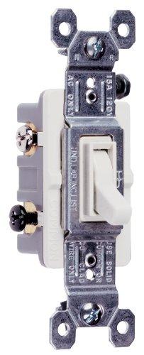 Legrand - Pass & Seymour 663WGCC10 Three Way Toggle Ground Switch 15-Amp 120-volt High Impact Resistant Construction, White