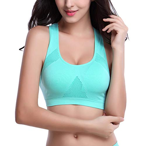 Sunmoot Tank Tops for Women Athletic Running Sports Bra Gym Yoga Fitness Seamless Padded Breathable Vest Green]()