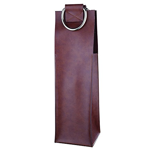 Admiral Brown Wine Tote by Viski - Leather Wine Carrier for Single Bottle