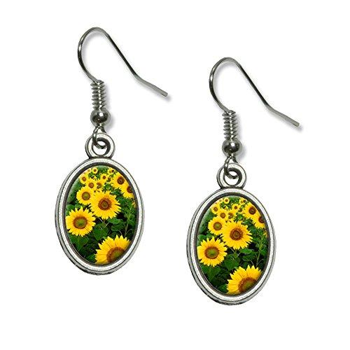 Field of Sunflowers Novelty Dangling Drop Oval Charm Earrings