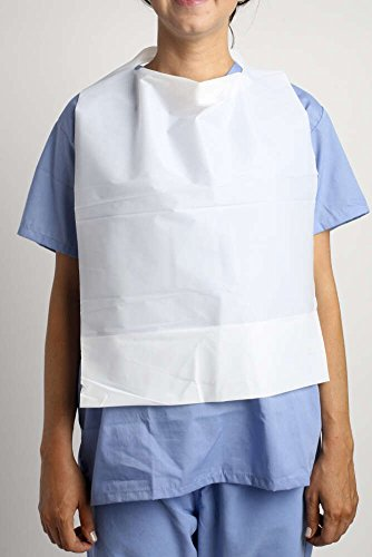 MediChoice Patient Bibs With Pocket, Poly, Adult, 16 Inch x 24 Inch, White (Case of 500)