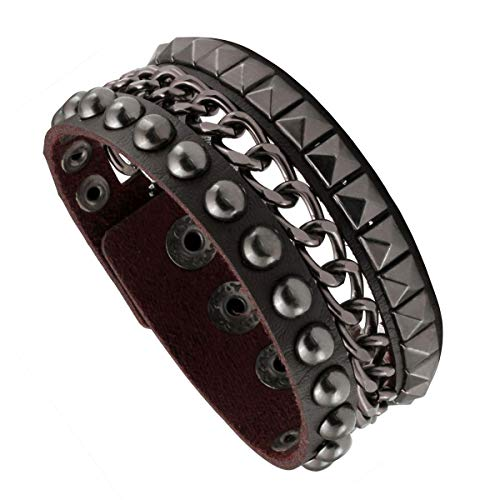 Eigso Punk Rock Wide Bracelet with Chains Buckle Leather Strap Bracelet, Brown, One Size ()