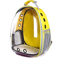 HuaHua-Store Dog Cat Transparent Space Capsule Breathable Shoulder Bag Pet Outside Travel Portable Carry Backpack,Yellow