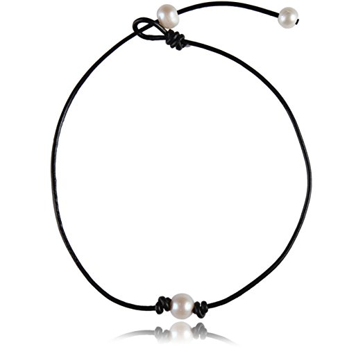 Single White Big Pearl Choker Necklace Adjustable Bead on Black Leather Cord with Pearl Extend Clasp (13'-15' Glossy Black)