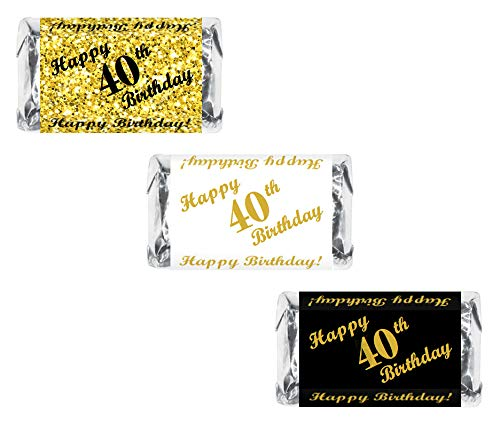 (RokAPary 40th Birthday Miniatures Candy Bar Wrapper, (Set of 60) Mini Candy Bar Stickers; 3 Designs: 24 Gold, 24 Black, 12 White, Candy Not Included)