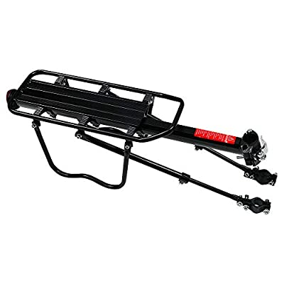 T-Former Rear Bike Rack Bicycle Cargo Rack Quick Release Adjustable Alloy Bicycle Carrier 115 Lb w/Reflector Lamp Capacity Easy to Install Black