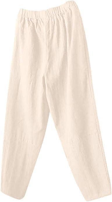Pantalones Pierna Ancha para Mujer, Wyxhkj Mujeres Pantalones Largos Lino Gran Tamaño Pantalones Anchos De Algodón Pantalones Sueltos Elástico Casual: Amazon.es: Ropa y accesorios