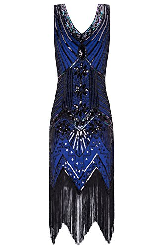 Metme Women's 1920s V Neck Beaded Fringed Gatsby Theme Flapper Dress for Prom,Navy,Medium