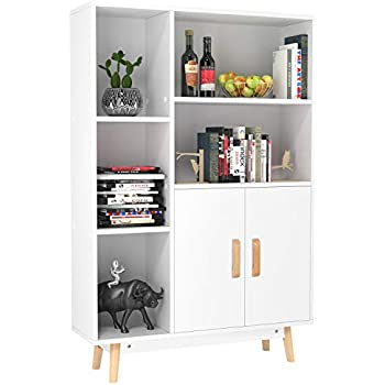 homfa floor storage cabinet free standing wooden display bookcase with double doors. Black Bedroom Furniture Sets. Home Design Ideas