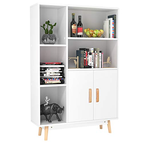 Homfa Floor Storage Cabinet, Free Standing Wooden Display Bookcase with Double Doors, 2 Shelves, 3 Cubes and 4 Legs, Side Cabinet Decor Furniture for Home Office, White ()