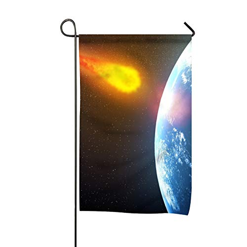 WilBstrn Premium Quality Seasonal Garden Flag for Outdoors Double-Sided Decorative Yard Flags Polyester Giant Asteroid to Pass Earth in Time for Halloween Artwork ()