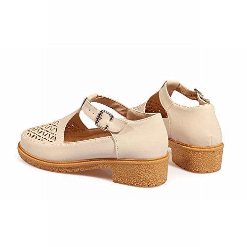 Show Shine Womens Fashion T Strap Buckle Mary Jane Flats Shoes Beige FNQGJDA6