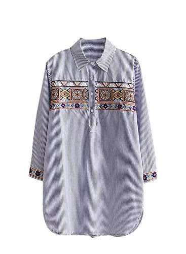 Women's Blue Embroidery Blouse Fit Loose Sleeve Achicgirl Long Pullover 6ORxRa