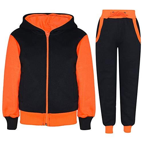 Price comparison product image Kids Tracksuit Girls Boys Fleece Hooded Hoodie Bottom Jogging Suit Jogger 2-13Yr Neon Orange