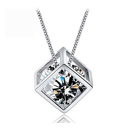 Yuriao Jewelry Artistic Happy Cube Diamond Studded Pendant Necklace£¨white£©