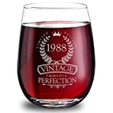 1988 30th Birthday Gifts for Women and Men - Elegant 15oz Stemless Wine Glass. The Perfect 30th Wedding Anniversary Gifts for Dad, Mom, Husband and Wife. Best 30th Birthday Decorations for Him and Her