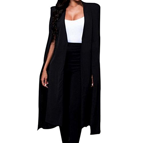 JESPER Women Loose Long Cloak Blazer Coat Cape Cardigan Jacket Trench Suit for Work Black (Womens Brown Leather Bomber Jacket With Hood)