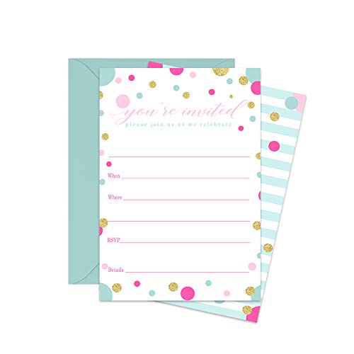 Pink Party Invitations and Envelopes for Celebrations - Pack of 15