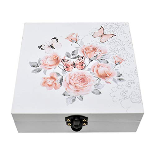 gbHome GH-6743 Decorative Wooden Treasure Box With Floral Art, Trinket Box, Mini Storage Chest For Jewelry, Memento Case, Wood Holder For Miscellaneous Teabags Coins, Trinket Container, Modern Design