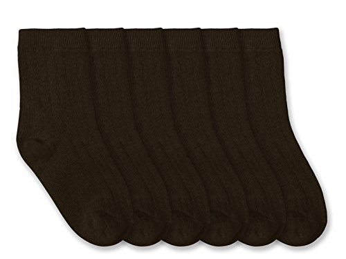 Jefferies Socks Boy School Uniform Ribbed Cotton Dress Crew 6 Pair Pack (Toddler - USA Shoe 3-7 - 1-2 Years, Brown) ()