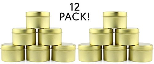 6-Ounce Round Gold Tins / Candle Tins (12-Pack), Metal Tins for Candles, DIY, Party Favors & More, Slip-On Lids Included (Miniature Tin)