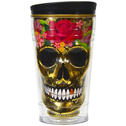 Sugar Skull Tumbler Insulated 18 Ounce Coffee Travel Mug, Day of the Dead (Gold)