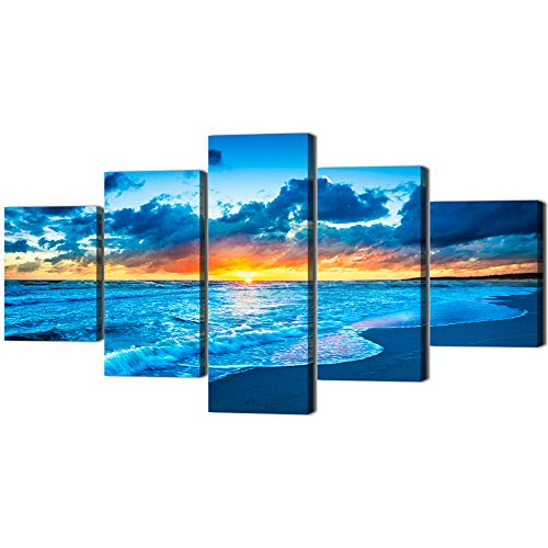 Navy Blue Beach Ocean Sunrise Modern Landscape Painting on Canvas 5 PCS,HD Print Picture Seaside Giclee Artwork Wall Art for Living Room Home Decor Wooden Framed Stretched Ready to Hang(60''W x 32''H) by Yatsen Bridge