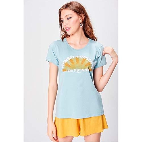 Camiseta Estampada Com Ribanas Feminina Tam: Gg/cor: Azul Claro