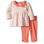 Gymboree Baby Girls 2-Piece Long Sleeve Winter Jersey Set Heart, Peach Heart, 6-12 MO