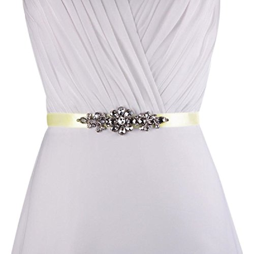 Crystal Sash Belt,Rhinestone Bridal,Wedding by Modern Celebrations (Ivory) - Women Taffeta Brides Maid Dress