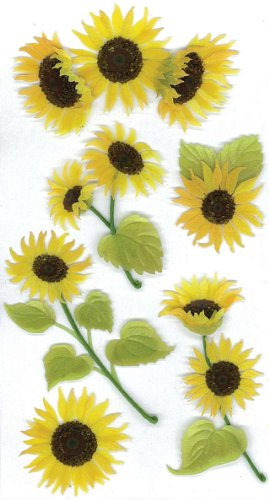 Jolee'S Boutique Dimensional Stickers-Sunny - Sunflowers Stickers Dimensional