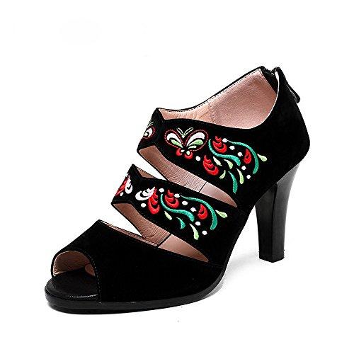 pesce black Donna di scarpe vintage Alla bocca scarpe estate roma tacchi scarpe Moda stile le con Da ricamati folk Ajunr Sandali alti pwxEqf1WfO
