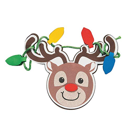 Set of 12 Cute Tangled Up in Christmas Lights Reindeer Ornament Magnet Foam Craft Project Kit ()
