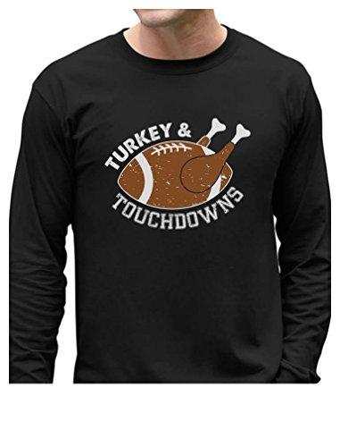 Thanksgiving Turkey & Football Touchdowns Men Long Sleeve T-Shirt