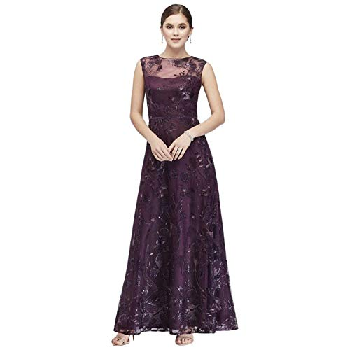 Floral-Embroidered Illusion Ball Mother of Bride/Groom Gown Style ES966DB, Eggplant, 16