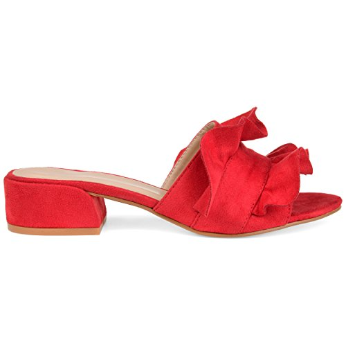 Mules Co Slide Womens Ruffle Red Brinley Suede Salest On Faux APqn8x