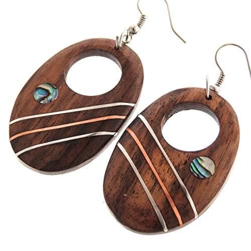 - 1 9/16'' Handmade PAUA Abalone Shell Metal Inlay Oval Natural Wood Earrings YE-3600
