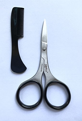 Professional Stainless Steel Sharp Beard & Mustache Scissors with Comb | Facial Hair Trimming for Men with Comfort Grip | Trimming Grooming Cutting Mustache, Beards, Eyebrows by DreamCut