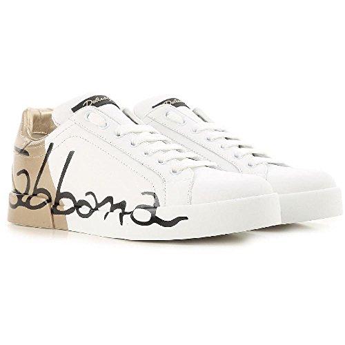 Dolce & Gabbana Women's White Calf Leather Sneakers Shoes - Size: 40 EU