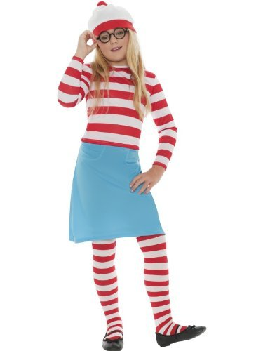 Costume Where's Waldo Girl (Girls Child's 5 Piece Where's Wally Wenda Waldo Fancy Dress Costume Age)