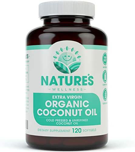 Organic Coconut Oil 2000mg - Healthy Skin, Nails, Weight Loss, Hair Growth – Extra Virgin, Cold Pressed, Unrefined Non GMO - Rich in MCT MCFA - Support Brain Function, Blood Pressure, Anti Aging