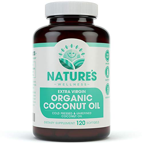 Organic Coconut Oil - Healthy Skin, Nails, Weight Loss, Hair Growth - Extra Virgin, Cold Pressed, Unrefined Non GMO - Rich in MCT MCFA - Support Brain Function, Blood Pressure, Anti Aging - 120softgel
