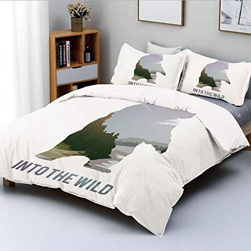 Duplex Print Duvet Cover Set Twin Size,Wild Animals of Canada Survival in the Wild Theme Hunting Camping Trip Outdoors DecorativeDecorative 3 Piece Bedding Set with 2 Pillow Sham,Multicolor,Best Gift