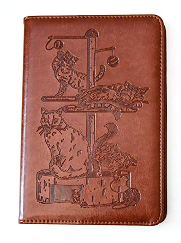 Cats Journal by SohoSpark, Writing Journal, Lined, Personal Diary, 6x8.75 Writers Travel Notebook, Faux Leather, Refillable, Fountain Pen Safe, Lay Flat Binding