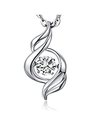 """Musical Note"" Dancing Pendant Necklace,Han han 925 Sterling Silver Dancing Diamond Pendant Necklace with AAA Cubic Zirconia,18"" Dancing Sterling Silver Necklace"